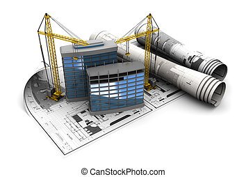 construction - 3d illustration of modern building ...