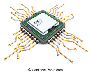 processor - 3d illustration of modern computer chip ...