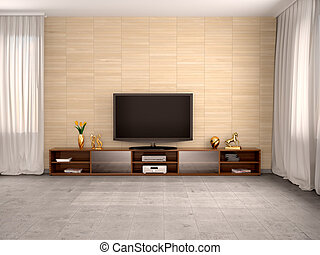 3d illustration of Modern living room with flat screen TV and a cupboard