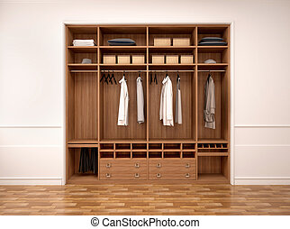 3d illustration of modern wardrobe with clothes and things