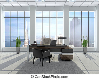 3d illustration of modern workplace in an office with large windows and city views