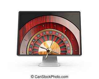 3d illustration of Monitor with casino roulette wheel on screen. Gambling app concepts, isolated white
