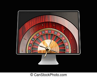 3d illustration of Monitor with casino roulette wheel on screen. Gambling app concepts