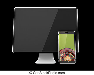 3d illustration of Monitor with smartphone and casino roulette wheel on screen, Empty screens