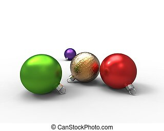 3d illustration of multicolored Christmas balls on white background