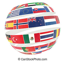 3D illustration of National flags twisted as spiral globe