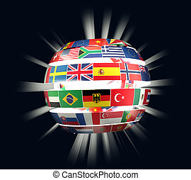 3D illustration of National flags twisted as spiral globe with rays