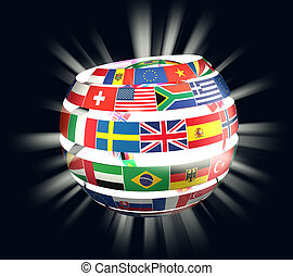 illustration of National flags twisted as spiral globe with rays
