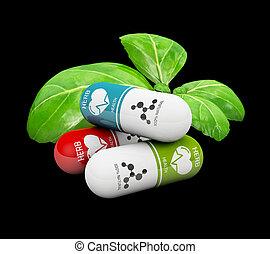 3d Illustration of Natural vitamin pills, Alternative medicine, isolated black
