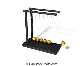 3d illustration of Newton's cradle