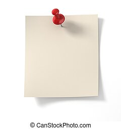 note pad pinned on white background - 3d illustration of ...