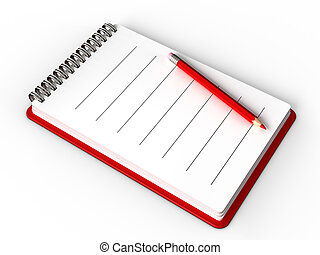 notepad - 3d illustration of notepad over white background