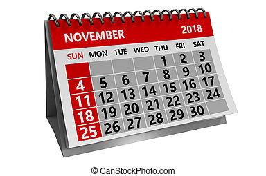 november 2018 calendar - 3d illustration of november 2018 ...