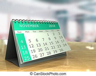 november 2018 - 3d illustration of november 2018 calendar on...
