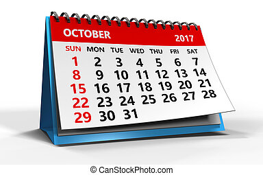 october 2017 - 3d illustration of october 2017 calendar over...