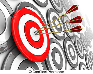 right target - 3d illustration of one selected target with...