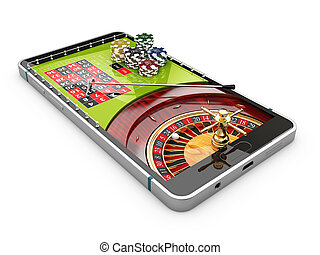 3d illustration of online Internet casino app, roulette with chips on the phone, isolated white