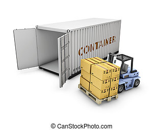 3d Illustration of open container with cardboard boxes and forklift