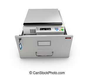 3d Illustration of open drawer with copy machine inside