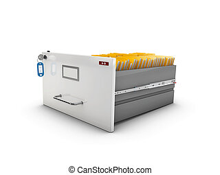 3d Illustration of open drawer with yellow folders
