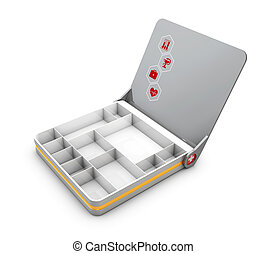 3d Illustration of Open First aid kit box isolated on white...