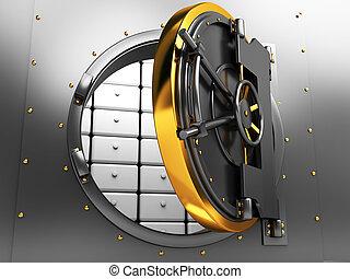 bank vault door - 3d illustration of opened bank vault door