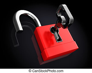 opened lock - 3d illustration of opened lock over black...