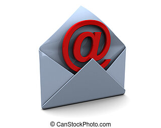 email - 3d illustration of opened mail envelope with email ...