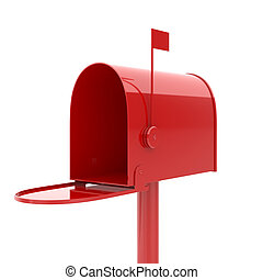 mailbox - 3d illustration of opened red mailbox