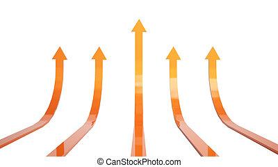 3d illustration of orange rising arrows