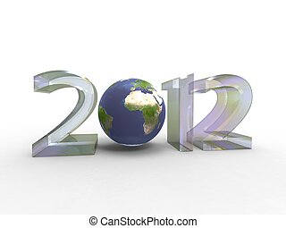 3d illustration of our planet in the new year 2012 on a white background
