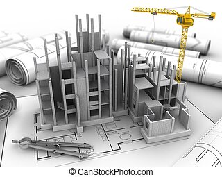 3d illustration of  over house plan background with crane