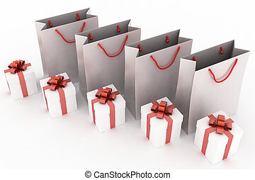 3d illustration of paper bags and boxes with gifts on a white background