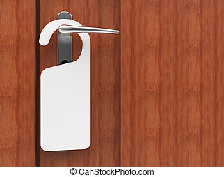 3D illustration of paper signboard hanging on a handle of door
