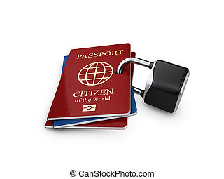 3d Illustration of passport with a closed lock