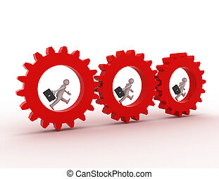 3d illustration of people in gear, team work concept. rendered illustration