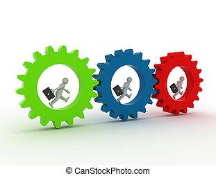 3d illustration of people in gear, team work concept. rendered illustration