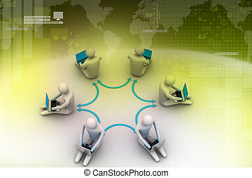 3d illustration of people working online on laptop