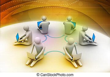 3d illustration of people working online on laptop