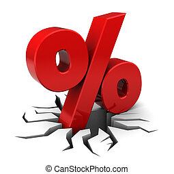 3d illustration of percent sign with crack, over white background