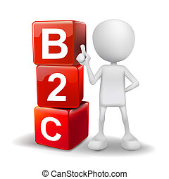 3d illustration of person with word B2C cubes