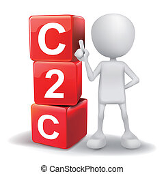 vector 3d human with word C2C client to client cubes on white background
