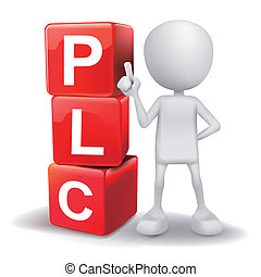 3d illustration of person with word PLC cubes