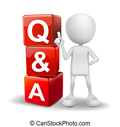 3d illustration of person with word Q&A cubes