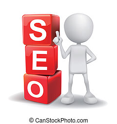 3d illustration of person with word seo cubes