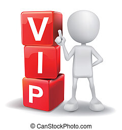 3d illustration of person with word VIP cubes