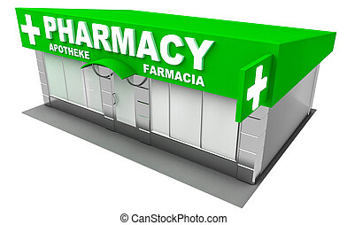 Illustration of pharmacy store isolated on white