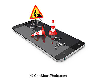 3d Illustration of Phone repair and service concept Isolated white