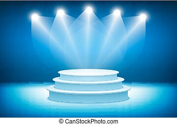 3d Illustration of Photorealistic  Podium Stage with Blue Stage Lights Background. Used for Product Placement, Presentations, Contest Stage. Blue stage light background