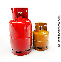 Propane gas cylinder on a white background